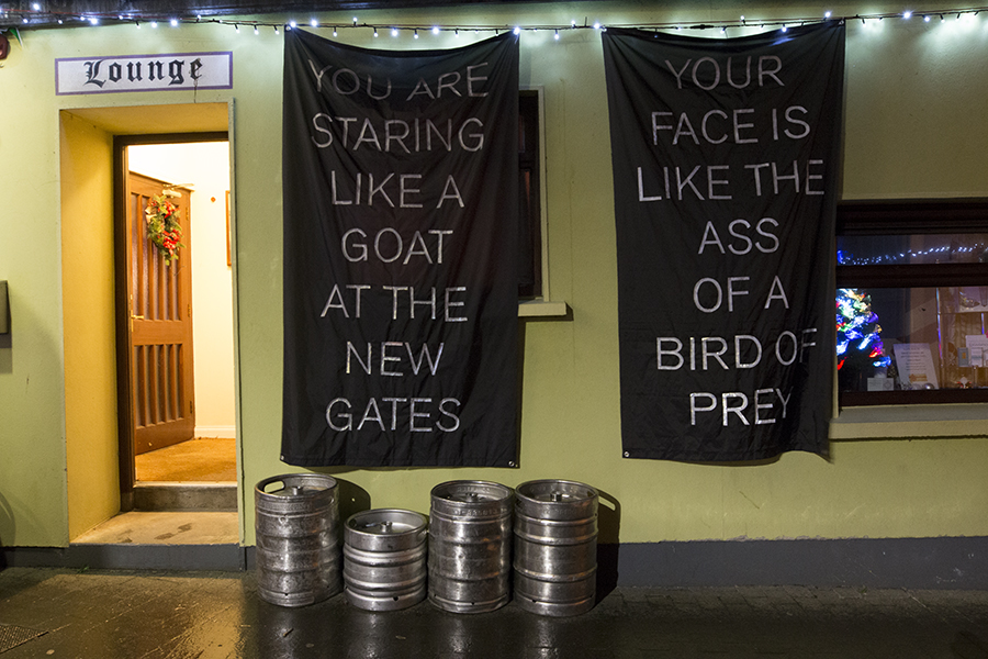 Banners outside of Cagney's Bar